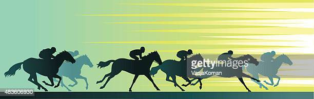 Horseracing Banner com Close-Up e silhuetas de Cavalo
