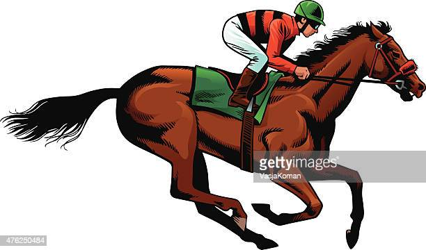 horseracing - purebred horse during race - horse family stock illustrations, clip art, cartoons, & icons