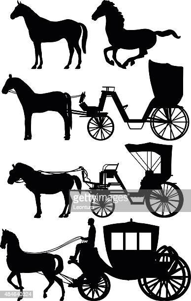 horses and carts - horsedrawn stock illustrations, clip art, cartoons, & icons