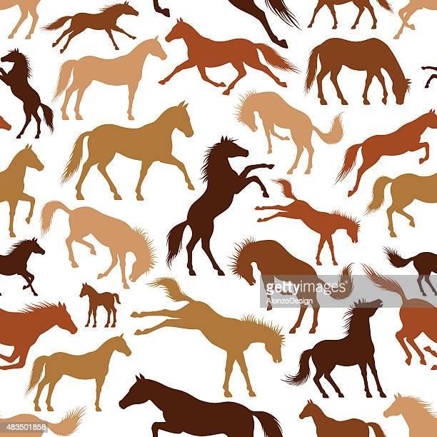 horses pattern - horse family stock illustrations, clip art, cartoons, & icons
