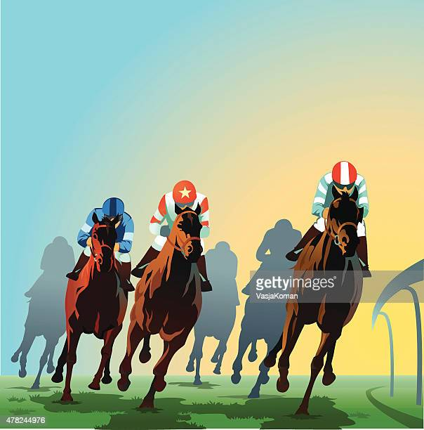 horses racing around the bend - front view - racehorse stock illustrations