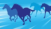 Horses running silhouette in blue background