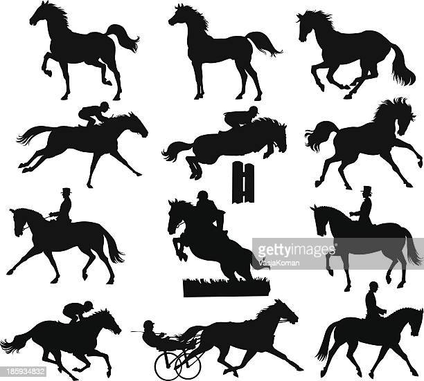 horses silhouettes - hurdle stock illustrations