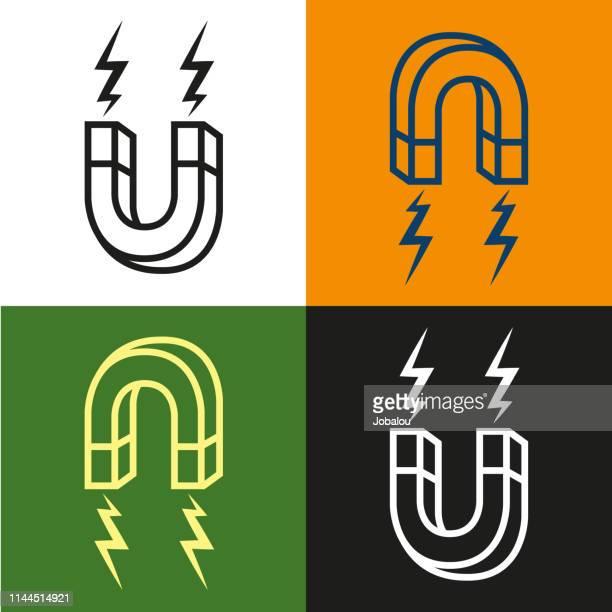 illustrazioni stock, clip art, cartoni animati e icone di tendenza di design piatto attrazione magnete a ferro di cavallo - elettromagnetismo