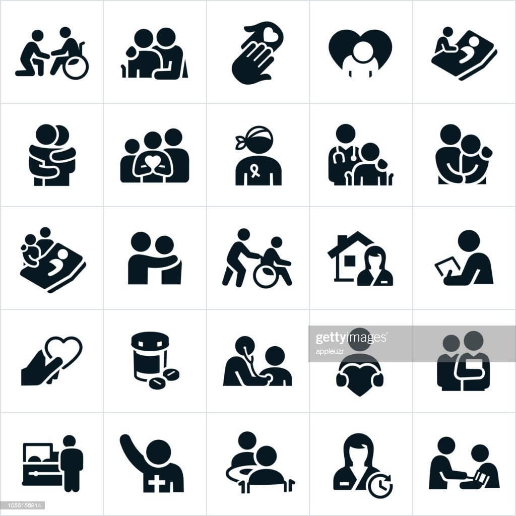 Hospice and Palliative Healthcare Icons : stock illustration