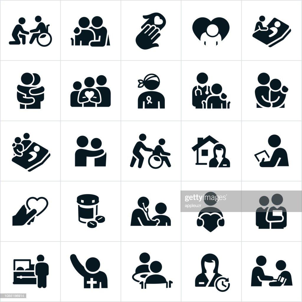 Cuidados paliativos e ícones de cuidados paliativos : Ilustração