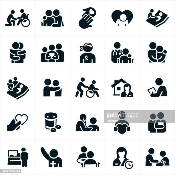 hospice and palliative healthcare icons - medical condition stock illustrations