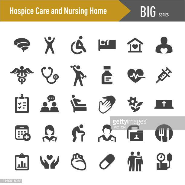 hospice care and nursing home icons - big series - senior adult stock illustrations