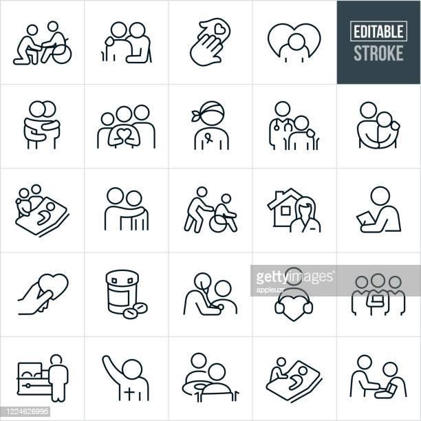 hospice thin line icons - editable stroke - hospice stock illustrations