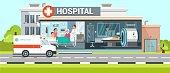 Hospital and Ambulance Flat Vector Illustration