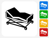 Hospital Bed Icon Flat Graphic Design