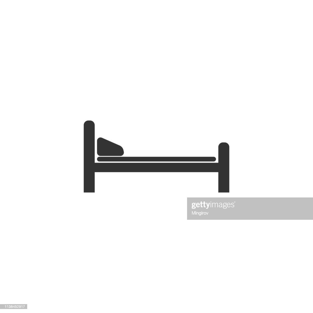 Hospital Bed icon isolated. Flat design. Vector Illustration