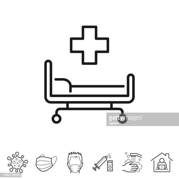 krankenhausbett. liniensymbol - bearbeitbarer strich - bett stock-grafiken, -clipart, -cartoons und -symbole