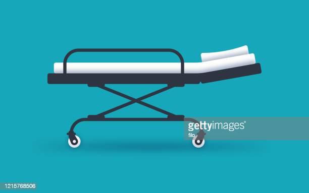 hospital bed or gurney for medical care and patient transport - hospital gurney stock illustrations