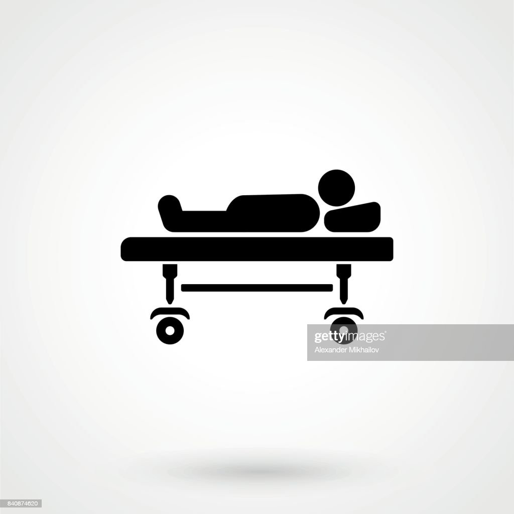 Hospital bed symbol. Vector icons for video, mobile apps, Web sites