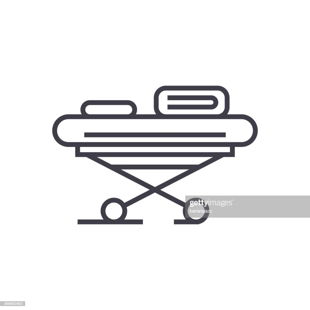 hospital bed vector line icon, sign, illustration on background, editable strokes