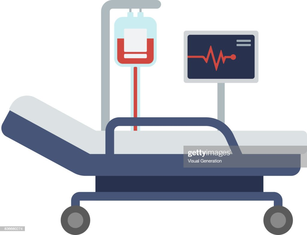 Hospital bed with medical equipments