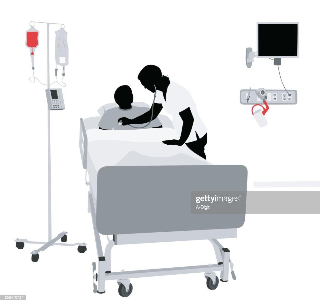 病院寝具看護師 : ストックイラストレーション
