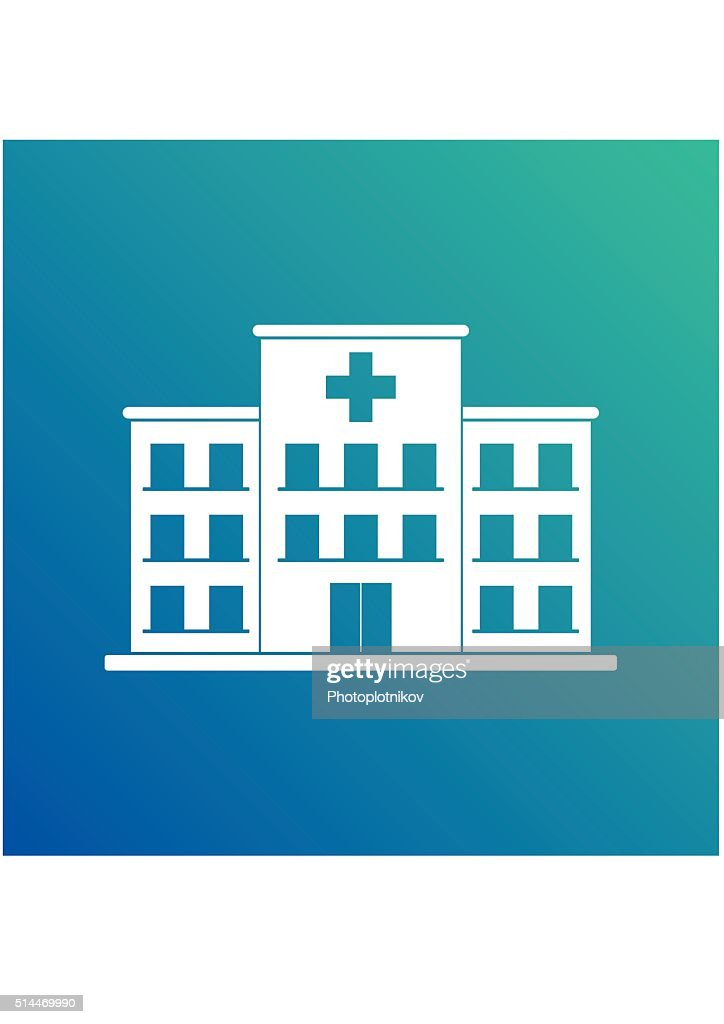 Hospital building cross white icon isolated on blue background. Clinic