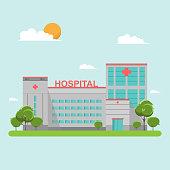 Hospital building flat style on blue sky
