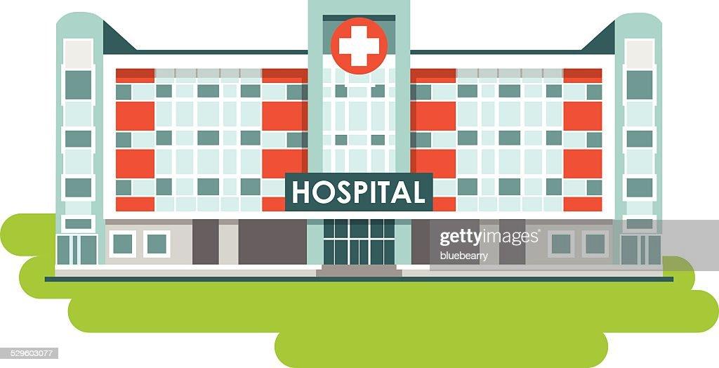 Hospital building on white background