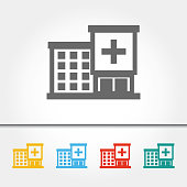 Hospital Building Single Icon Vector Illustration