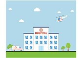 Hospital building with ambulance and helicopter flat design. Clinic Vector