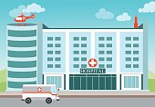 Hospital building with Medical helicopter and ambulance.