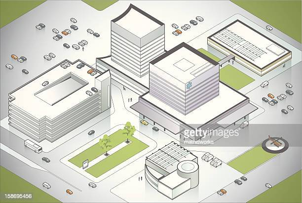 hospital campus illustration - mathisworks architecture stock illustrations