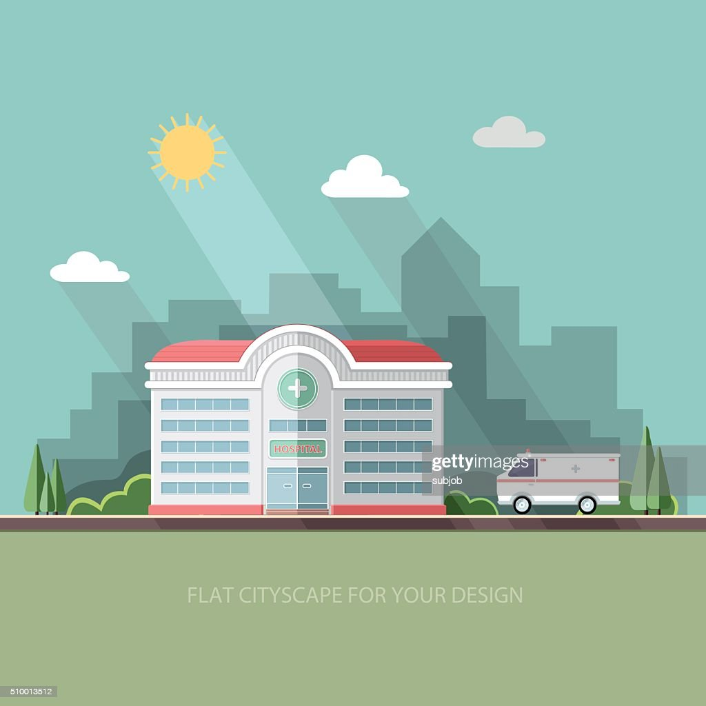 Hospital. Clinic building with ambulance car. Flat vector illustration.