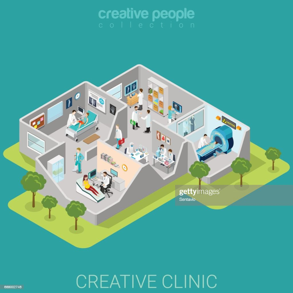 Hospital clinic interior rooms flat 3d isometry isometric medical concept web vector illustration. Traumatology MRI ultrasonography lab reception doctor nurse patient. Creative people collection.