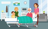 Hospital Discharging Flat Vector Illustration