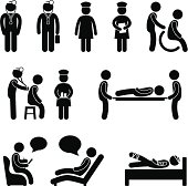 Hospital Doctor Nurse Patient Pictogram