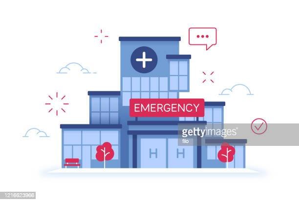 hospital emergency room medical healthcare facility building - emergency room stock illustrations