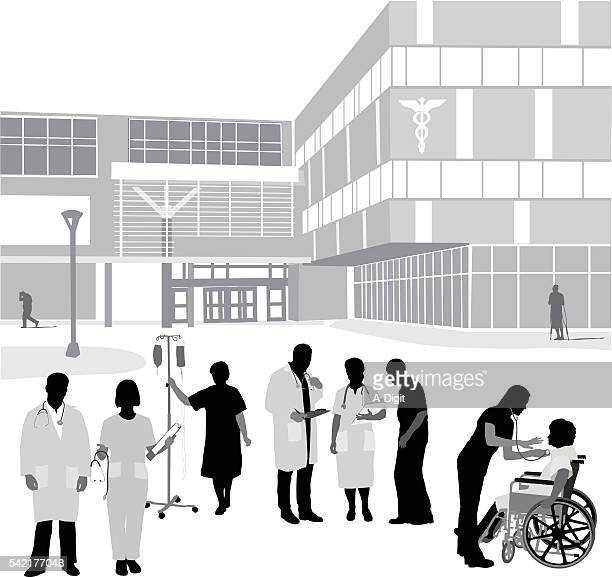 hospital entrance and occupants - entrance stock illustrations, clip art, cartoons, & icons