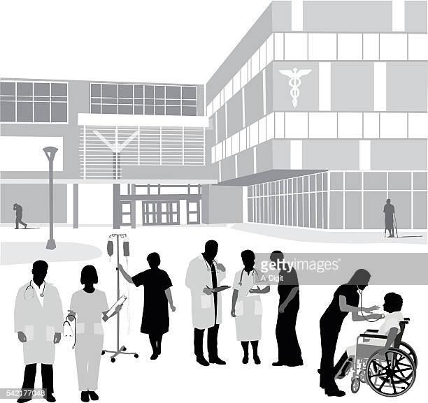 stockillustraties, clipart, cartoons en iconen met hospital entrance and occupants - verpleegkundige
