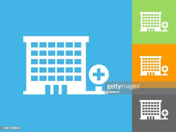 illustrations, cliparts, dessins animés et icônes de icône plate hôpital sur fond bleu - hopital batiment
