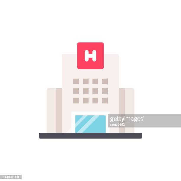 hospital flat icon. pixel perfect. for mobile and web. - hospital stock illustrations