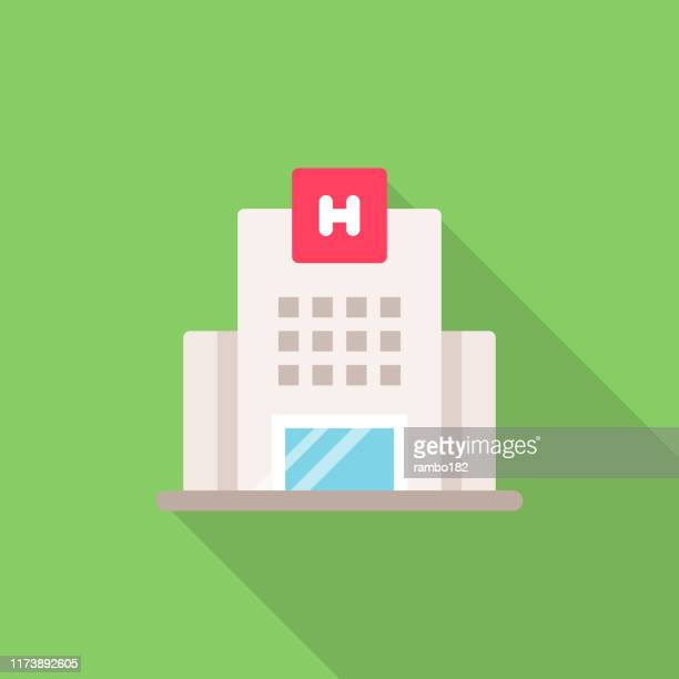 hospital flat icon. pixel perfect. for mobile and web. - medical building stock illustrations
