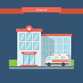 Hospital flat style. Clinic building with ambulance. Flat vector illustration.