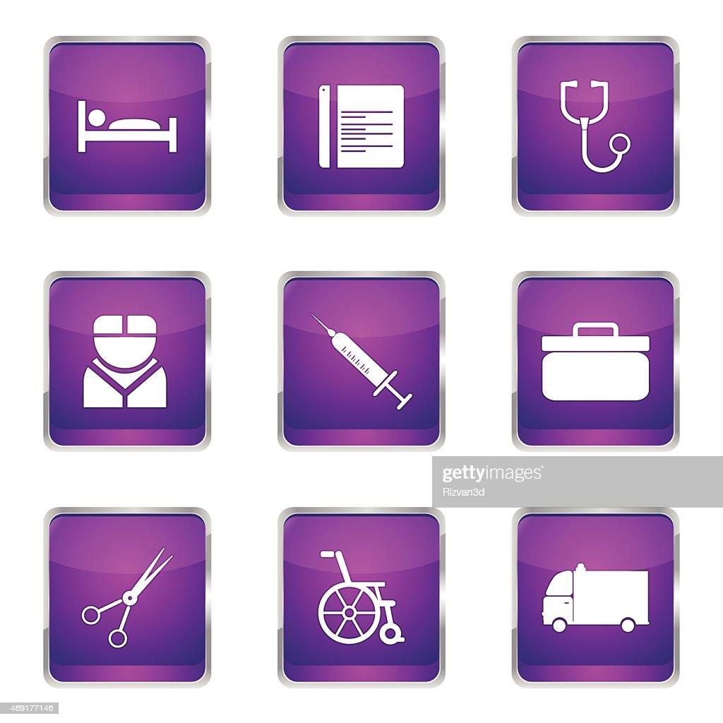 Hospital Health Square Vector Violet Icon Design Set