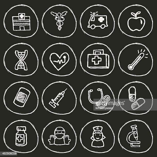hospital icon - stage set stock illustrations