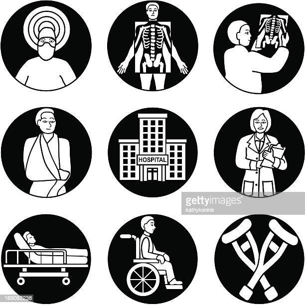 hospital icons reversed - broken arm stock illustrations, clip art, cartoons, & icons