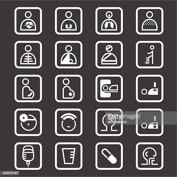hospital icons (white series) - broken arm stock illustrations, clip art, cartoons, & icons
