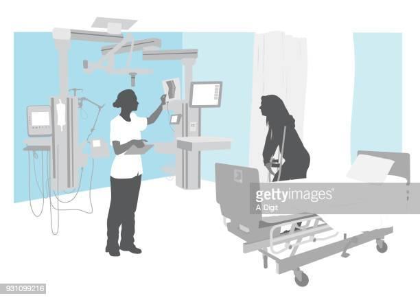 stockillustraties, clipart, cartoons en iconen met ziekenhuis intensive care unit - hoverboard