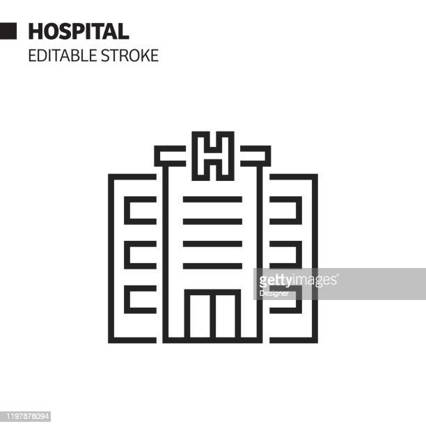 illustrations, cliparts, dessins animés et icônes de icône de ligne d'hôpital, illustration de symbole de vecteur de d'contour. pixel perfect, avc modifiable. - hopital batiment