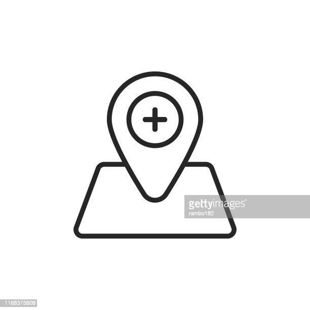 病院の場所の行のアイコン。ピクセルパーフェクト。モバイルとウェブ用。編集可能なストローク。 - 副操縦士点のイラスト素材/クリップアート素材/マンガ素材/アイコン素材