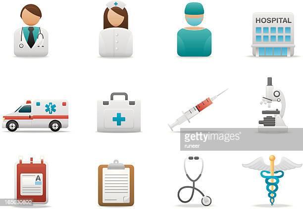 ilustraciones, imágenes clip art, dibujos animados e iconos de stock de hospital & centro médico iconos/serie mate premium - enfermera