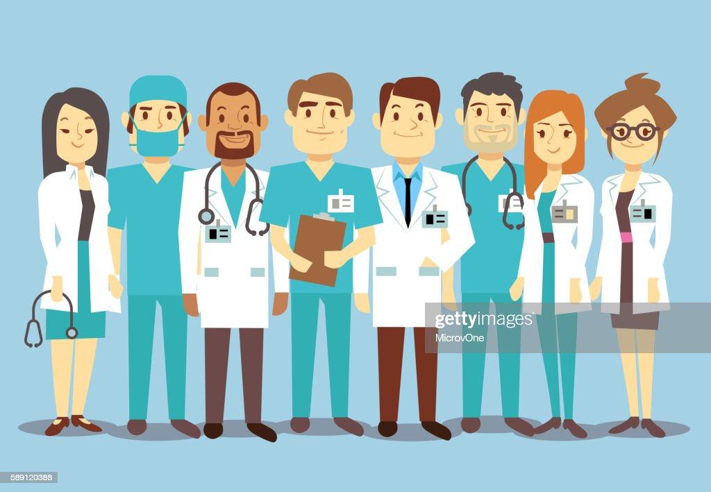 Hospital medical staff team doctors nurses surgeon vector flat illustration
