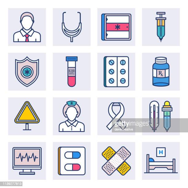 ilustraciones, imágenes clip art, dibujos animados e iconos de stock de clínicas de medicina hospitalaria estilo vector de línea plana icono conjunto - diabetes